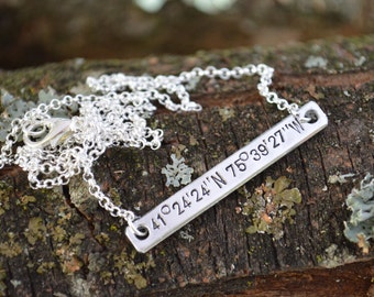 Sterling Silver Bar Necklace, Custom Coordinates, Coordinate Bar Necklace, Coordinate Necklace, Latitude Longitude Necklace,Personalized Bar