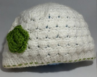 Shell Winter Hat with Flower - Choose your color combination! - Adult and Kid sizes