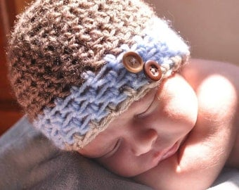 Newborn/baby/infant crochet boys beanie with buttons. Brown and blue baby hat.