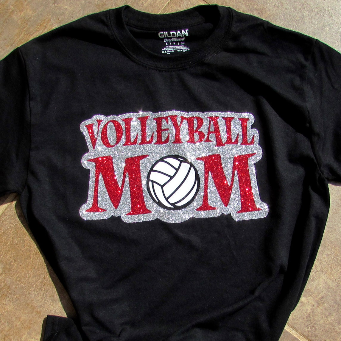 Volleyball mom shirt volleyball mom in sparkling for Volleyball custom t shirts