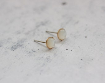 Dainty Brass Mother Of Pearl Studs