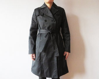 DKNY Black Trench Coat Navy Double Breasted Coat Strong Trench Donna Karan Raincoat with Belt Designer Women's Trenchcoat Size Medium