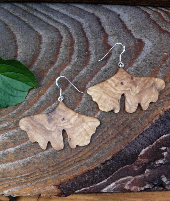 Ginkgo leaf wood earrings, Sterling silver Leaf earrings, Oversized big silver earrings, Boho Wooden Earthy earrings, Ginkgo leaf jewelry