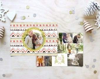 Tribal Boho Christmas Photo Cards - Hipster Custom Holiday Greeting Cards - Printable Holiday Cards