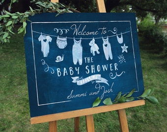 Boy Baby Shower Welcome Sign - Blue Chalkboard Signage - Digital File - Instant Download - Sammi