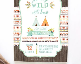 Young, Wild, and Two Invitations - Tribal Tee Pee Invitations - Second Birthday Party Invites - Instant Download