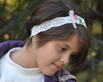 Mix color flower, flower crown, lace headband, whimsical headband, flower headband, toddler headband, girls headband, headband