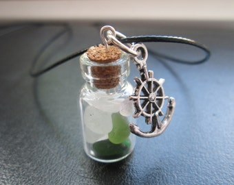 Seaham seaglass glass bottle pendant necklace with anchor charm, aquamarine, green and white sea glass. Free UK postage.