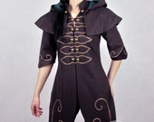 """Lady Bug - woman's version of """"Forest Ranger"""" Fantasy Coat with hood - beautiful LARP coat made for order. For Elves or ranger"""