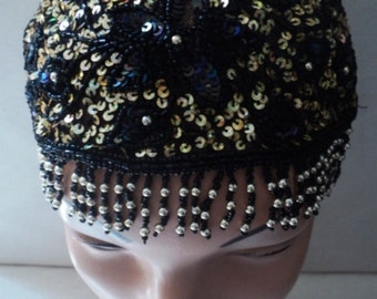 Beaded Hat, BLACK BEADED CAP, Gatsby, Gatsby Inspired Beadwork, Sequined Flapper Hat, Cloche Cap, Daisy Beaded Cloche Hat