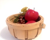 small farmhouse country wooden basket, swing wooden handle slatted rustic folk decor, gift basket idea yesteryears