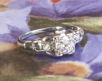 Vintage Art Deco 1930's .48ct Old Transitional European Cut Diamond Engagement Ring 18k