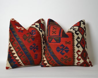 Kilim Throw Pillow Covers Set Of 2 - Bohemian Chic Home Decor 16x16 Pillow Covers Ethnic Soft Decorative Pillows Shabby Chic Home Decor