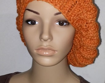 Orange knitted beret