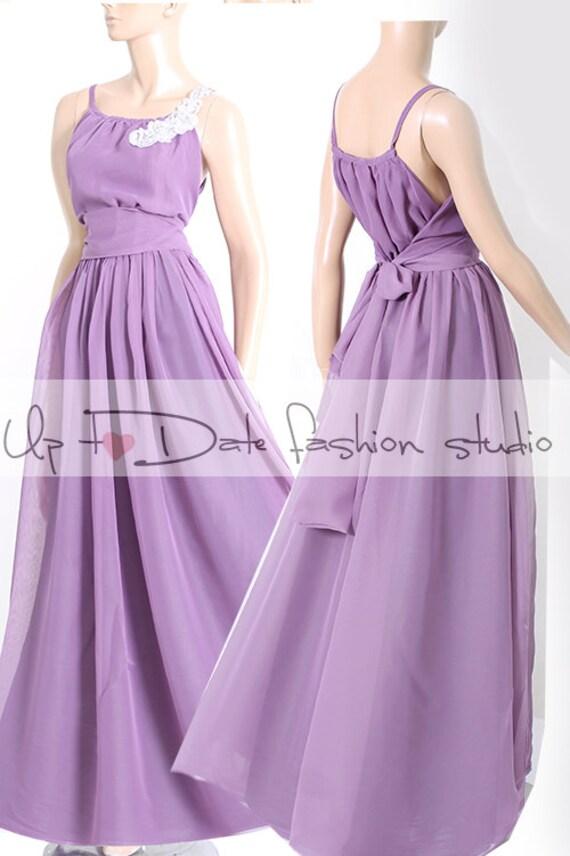 Maxi  violet / chiffon  bridesmaid / evening / party /  dress