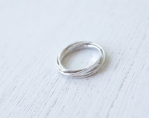 Forever. Simple Hammered Four Sterling Silver Copper Brass Gold Interlocking Ring. Modern dianty slim four band rolling ring / everyday ring