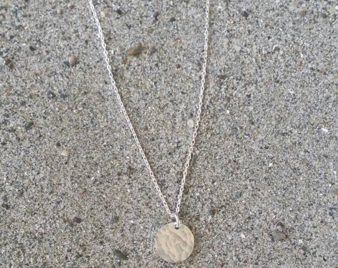 Tiny sterling silver necklace, hammered Circle, layering necklace, sterling silver, tiny silver necklace, tiny charm necklace