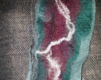 Green & Burgundy Nuno Felted Dress Scarf