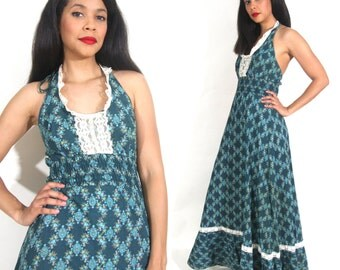 Vintage 70s Teal Floral Calico Lace Trim Halter Backless Maxi Dress Hippie Festival