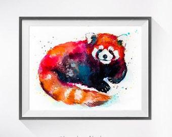 Red panda 2 watercolor painting print, Red panda art, animal watercolor, animal art, animal portrait, Red panda painting, Red panda print