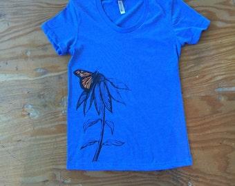 Monarch Echinacea T shirt-American Apparel women's swoop neck tee-Style runs small-butterfly-echinacea-purple cone flower-monarch-flower