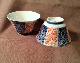 Set of 2 Oriental Serving Bowls - Blue/ White & Red Floral Design - Tea, Soup, Saki, Soy Sauce Cup - Catch All DIsh, Candle Holder