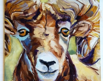 "Ram - 10"" x 10"" - Original Oil Painting on Panel"
