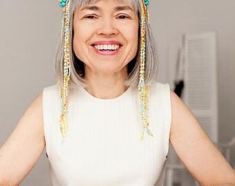 Avant garde head jewelry, festival headband, coachella headband, colorful body jewelry, advanced style, beaded jade accessories, forehead