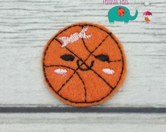 Basketball with bow set of 4 UNCUT wholesale felties, felt embellishment, hair bow centers, hair accessories, scrapbook supplies applique