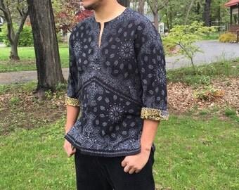 Men's  Dashiki - Black and Grey Bandana