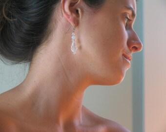 Quartz earrings, glass earrings, drop earrings, Glass and quartz, dangle earrings, special, lovely unique