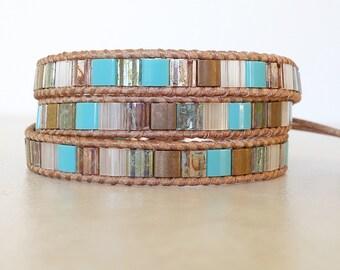 Boho turquoise gold tila bead 3 wrap bracelet-Beachy leather triple wrap bracelet- boho ladder bracelet- Bohemian  bracelet