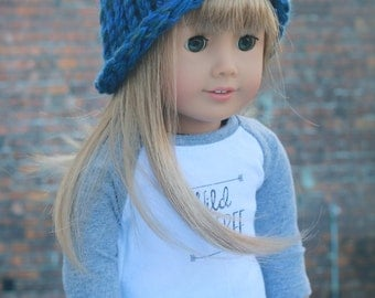 AG Doll Clothes | Cobalt Blue with Green Knitted BEANIE HAT for 18 Inch Dolls such as American Girl