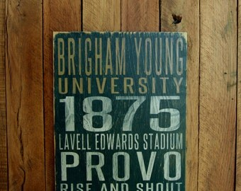 BYU Cougars Distressed Wood Sign--Great Father's Day Gift!