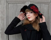 Black felted hat, stylish bohemian, wide-brimmed hat, hat with red flower, Spring fashion, Designer hat . OOAK