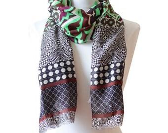 Wool and silk scarf - handmade in Lyon - Digital Printing -