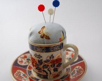 Blue Oriental Teacup Pincushion