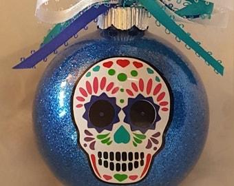 Sugar Skull Ornament, Sugar Skull Christmas Ornament, Custom Ornament, Day Of The Dead, Vinyl Ornament, Feliz Navidad, Calavera