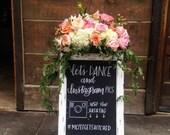 Chalkboard Easel/Wedding Chalkboard/Chalkboard with Stand/Baby Shower Chalkboard/Chalklettering/Chalkboard Sign/1920s Wedding