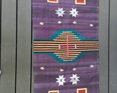 Purple Navajo Rug // Tribal // Geometric // Wool // Throw // Area rug