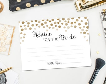 PRINTABLE - Advice For The Bride - Gold Sparkle Bridal Shower Marriage Advice Wedding Cards - DIY Instant Download 5 x 7