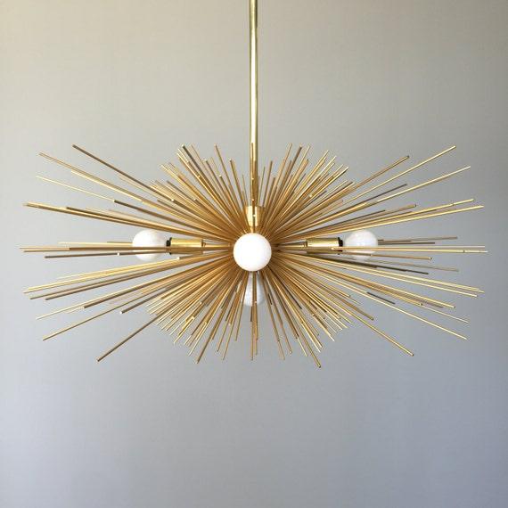 5-Bulb Gold Urchin Chandelier Lighting