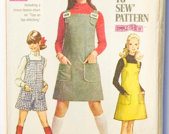 Vintage 60's Simplicity 7877 - Junior, Teen Jumper and Jumpsuit - Size 11/12 - Bust 32