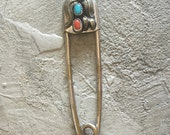 Vintage Large Turquoise and Coral Safety Pin Key Ring