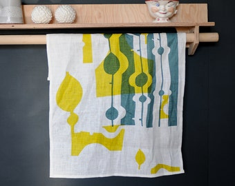 Linen Kitchen Towel - Hand Printed with Mid Century Modern Design - Navy and Yellow - Modern Kitchen Decor