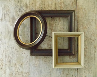 vintage set of small open wood picture frames wall frame collage set
