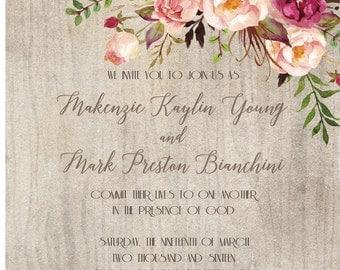 Woodgrain Floral Wedding Invitation