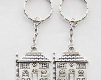 2 House Keychains, Set Of 2 New Home Keychains, First House Keychain, Realtor Gifts, Real Estate Agent Keychain, His and Hers House Keys