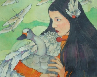 The Swan Maiden- limited edition print of original mixed media painting