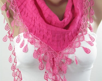 Hot Pink Scarf with Lace edge Gift ideas for her fro women Bridesmaids Gift Spring Summer Fall Winter Fashion Holiday Christmas Gift for her